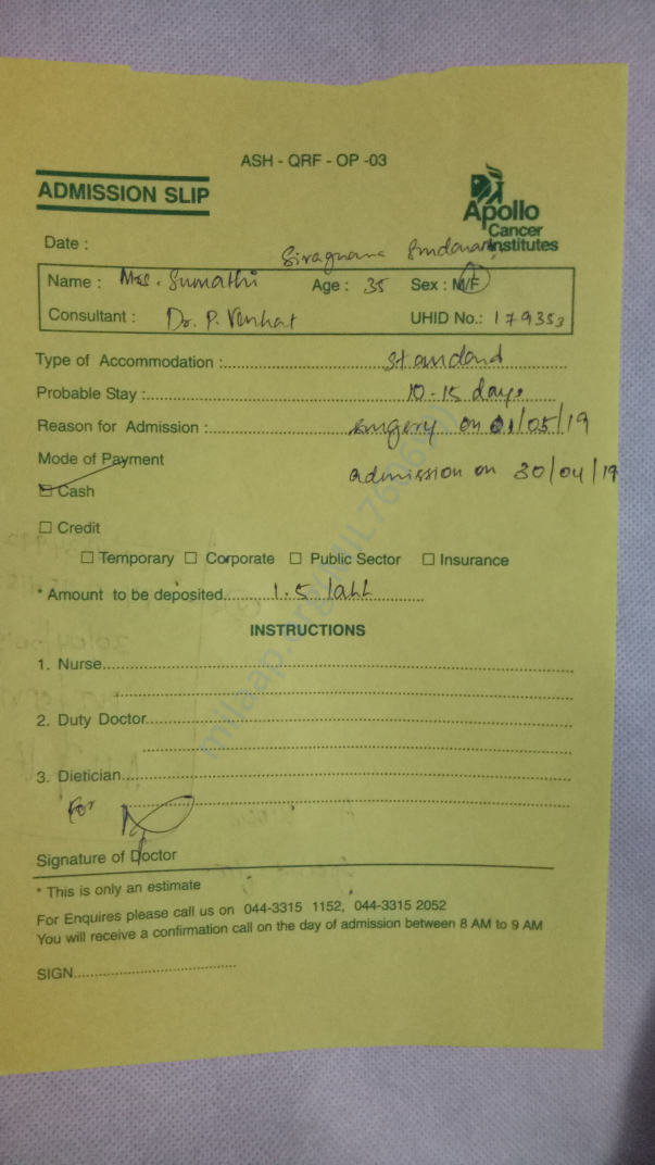 Apollo hospital advance deposit slip